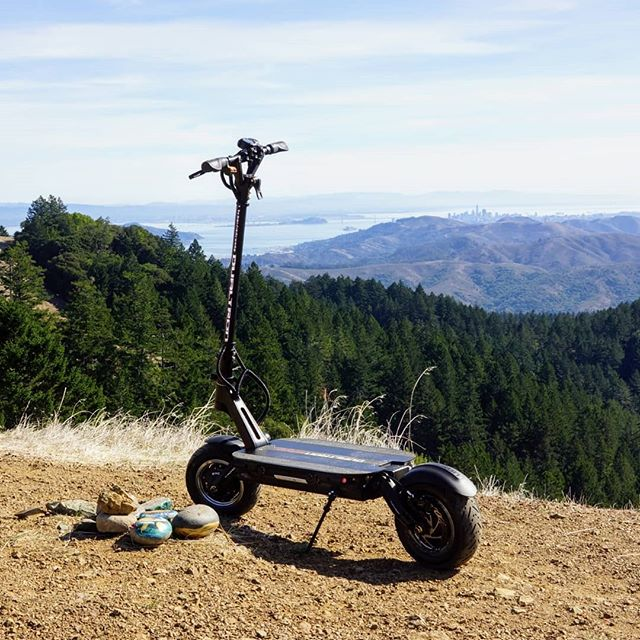 Dualtron electric scooter overlooking mountain