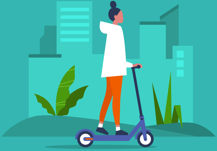 Woman on an electric scooter image