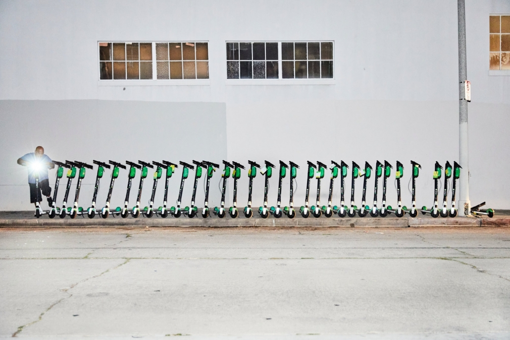 Lime Scooters Dropped Off in a Deployment Zone
