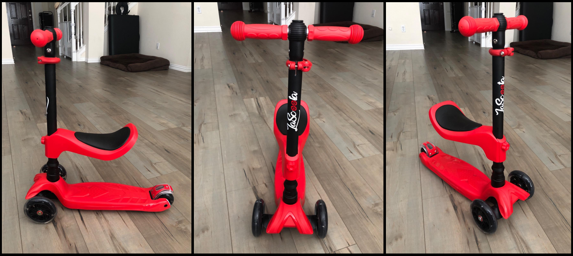 Lascoota 2-in-1 Kick Scooter with Removable Seat